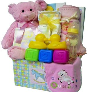 Sweet Baby Care Package Gift Box with Teddy Bear   Blue Boys or Pink