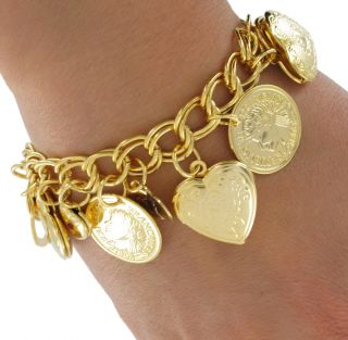 New Heart Locket Bracelet Gold Plated Coin I Love You Charm