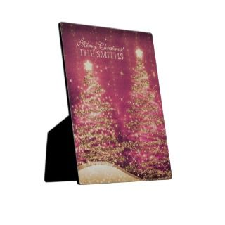 Family Christmas Sparkling Trees Custom Pink Photo Plaque