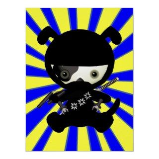 Cute kawaii puppy dog cartoon ninja on a bright yellow and blue