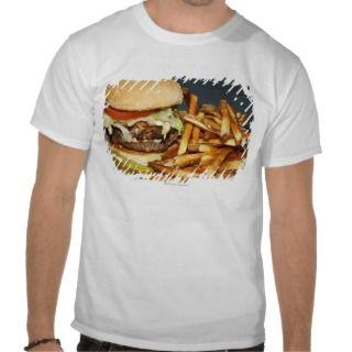 la media hamburguesa doble grande de la libra fríe tee shirt de