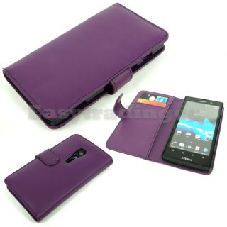 Agenda Type Leather Case Sony Xperia ion LT28i with Card Slots