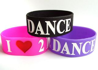 Love 2 Dance Rubber Silicone Bracelet Wristband