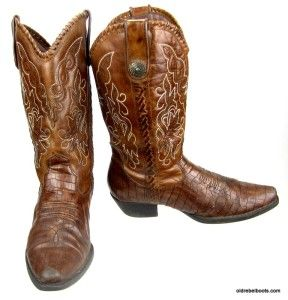 Earth Spirit Maize Brown Leather Flower Mad Gator Print Cowboy Boots