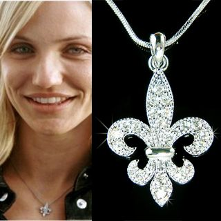 Swarovski Crystal Paris France lys Iris Lily Flower Flag Necklace