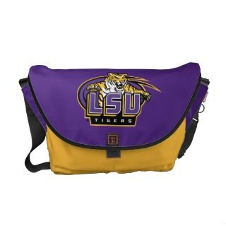 LSU Tigers with Tiger Mascot Messenger Bags