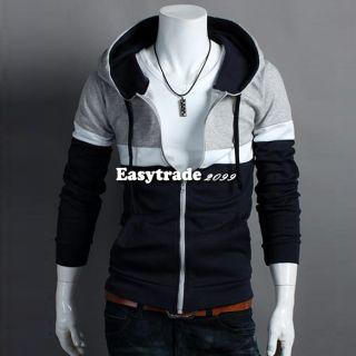 Mens Fashionable Slim Fit Long Sleeve Hoodies Coat Jacket Sweatshirt
