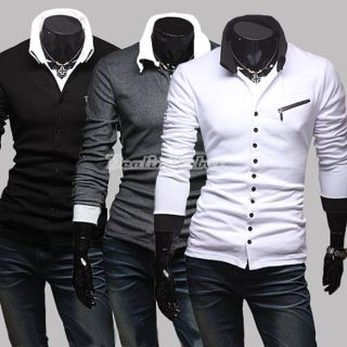 Fashion Slim Fit Black Gray White Long Sleeve T shirt Top US XS S M L