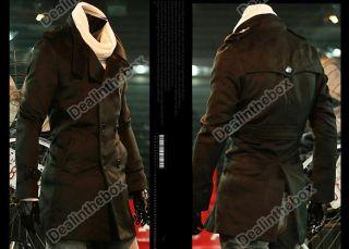 Korea Slim Mens Classic Double Breasted Wool Coat Jacket Windbreak 2