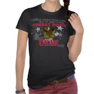 My Hero wears Combat Boots   USAF Wife Tee Shirt