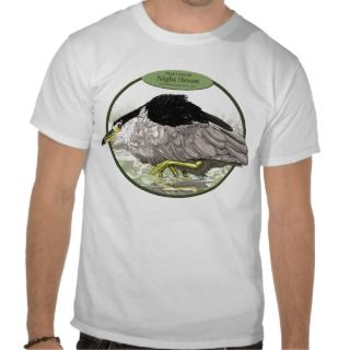 Black Crowned Night Heron T Shirt Version 2