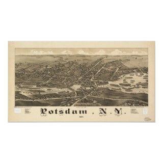 Mapa panorámico aniguo de Posdam Nueva York 1885 Impresiones de