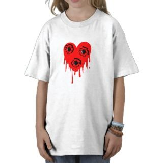 Bullet Hole Bleeding Heart Tattoo Tee Shirts