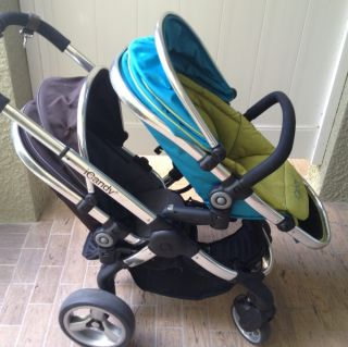 iCANDY Sweet Pea Black Jack Peach Double or Single Stroller Pre Owned