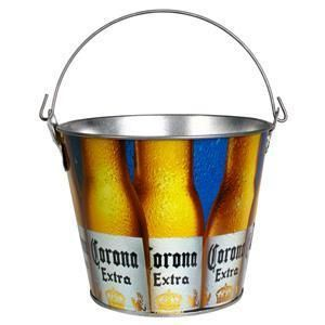 Corona Extra Logo 5qt Galvanized Beer Ice Bucket Cooler New
