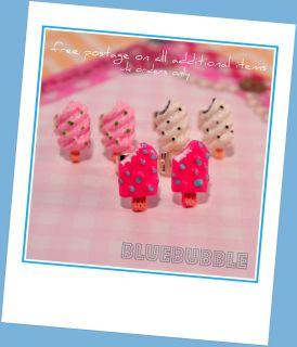 Funky Mini Ice Cream Earrings Sweet Cute Kitsch Kawaii Retro Lolly Pop