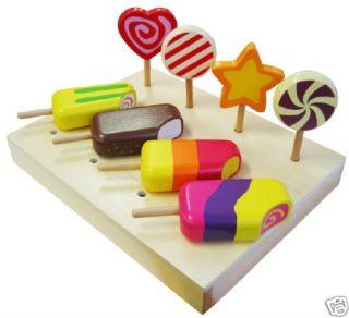 New 8PC Wooden Ice Block Cream Lolly Candy Dessert Role Play Kitchen
