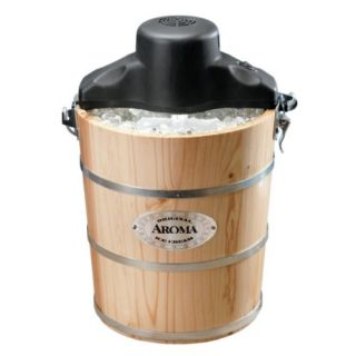 AIC 204EM 4 Quart Wood Barrel Ice Cream Maker Natural Wood