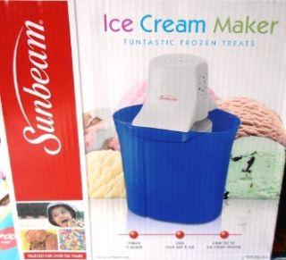 BLUE SUNBEAM 4 QT ICE CREAM MAKER+RECIPES STORAGE GREAT GIFT ~NEW IN
