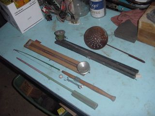 Vintage Lot 5 of Ice Fishing Supplies Poles Tip Up Scoops