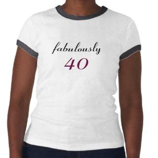 Fabulously 40 Black & White Ringer Tee Shirt