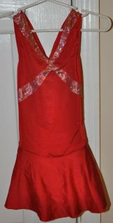 Red Ice Skating Dress Size Child Small 6