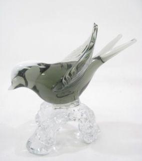 Arte Murano Icet Crystal Black Swallow Bird Figurine