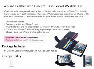 Genuine Leather Wallet Card ID Iwalletcase Flip Case Cover for Apple