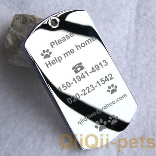 Stainless Steel Custom Engraved Dog Tag Pet ID Tags Pet Name DIY Tags