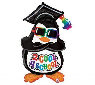 Cool 4 School Penguin Graduation Hat Party Balloon