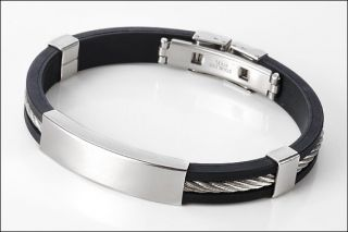 Personalized Stainless Steel with Rubber ID Bracelet Free Engraving