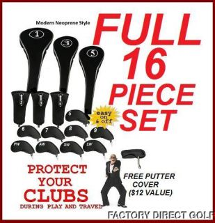 New 16 Piece Head Cover Set Drivers Hybrids Irons Putter Fit Callaway