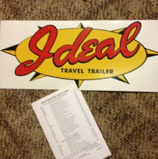 Ideal Vintage Style Travel Trailer Decal Red Yellow and Black 18