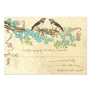 Aqua Cherry Blossom Vintage Bird Weddings Custom Invite