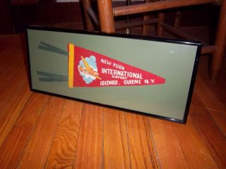 NY VINTAGE IDLEWILD AIRPORT SMALL PENNANT PROFESSIONALLY FRAMED NEW