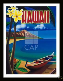 Hawaii Beach Boat Mountain Art Framed Print Ignacio