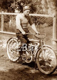 Early 1900s Schwinn Excelsior Motorcycle with Rider Biker Beanie