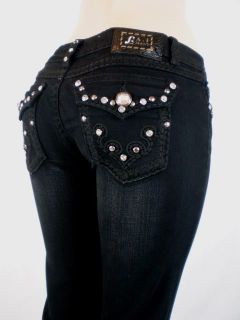 Women La Idol Bootcut Jeans Black Tribal Tattoo Crystal Flap Pockets 0