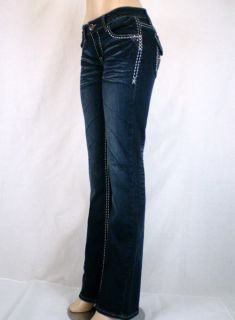 Women La Idol Bootcut Stretch Jeans Fleur de Lis Studs Jewel Pockets