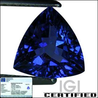 IGI Certified 1 18 Ct AA Natural DBlock Tanzanite Trillion Bluish