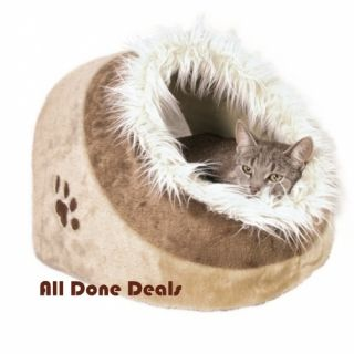Cat Igloo Cave Bed Brown Fur Kitten Snuggle Pet Pad Warm Fur Dog House