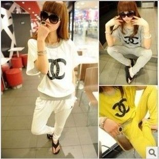 Women Sport Suit Lady Short Sleeve Crewneck T Shirt Long Casual Pants