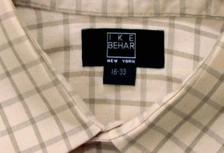 Ike Behar Light Brown Windowpane Dress Shirt 16 33
