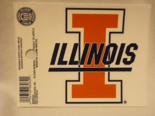 Illinois Fighting Illini Static Cling Sticker New Window or Car NCAA