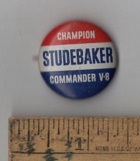 Original c1950s Champion Studebaker Commander V8 Pinback Button