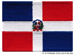 Dominican Republic Flag Embroidered Iron on Patch Caribbean Emblem