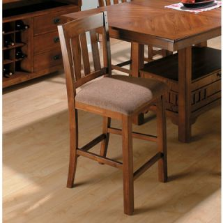 Saddle School House Counter Height Stool in Brown Oak Set of 2
