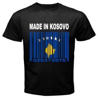Made in Kosovo Albanian Kosovar Kosovan Country Flag Custom Black T