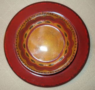 12 PC Melamine Tuscan Set Red Yellow Plastic 11 Dinner Plate 7 Bowl