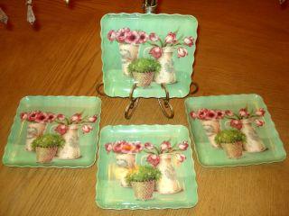 Lot Set Melamine Plastic Square Green Dessert Plates Dish Flowers 6